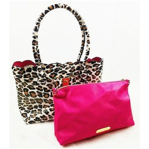 Betsey Johnson Cheetah and Pink Bag and Pouch